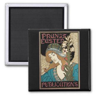 Vintage Art Nouveau, Prangs Easter Publications 2 Inch Square Magnet
