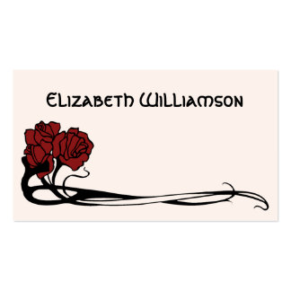 Vintage Art Nouveau Retro Chic Rose Flower Floral Double-Sided Standard Business Cards (Pack Of 100)