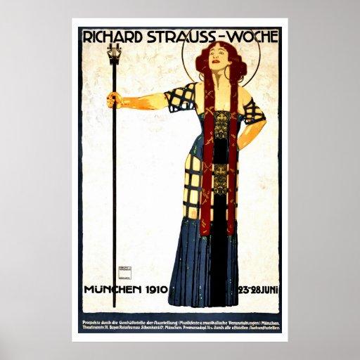 Vintage art nouveau Richard Strauss concert Print