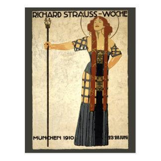 Vintage Art Nouveau Richard Strauss-Woche. Munich Postcard