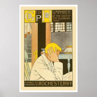 Vintage art nouveau Rochester bookstore ad Print