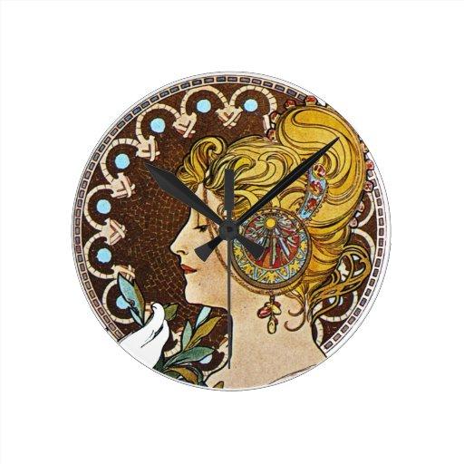 Wall Clock Art Nouveau : Vintage art nouveau round clock zazzle