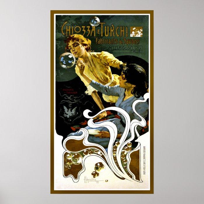 Vintage Art Nouveau soap manufacturer ad vertical Poster ...