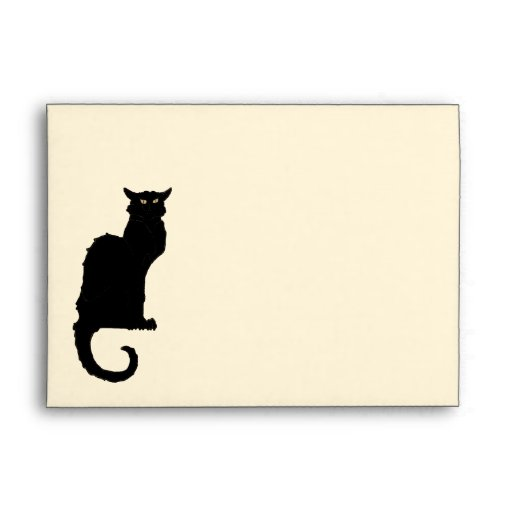 Vintage Art Nouveau, Spooky Halloween Black Cat Envelopes
