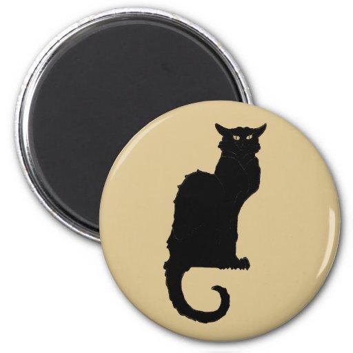 Vintage Art Nouveau, Spooky Halloween Black Cat Magnets