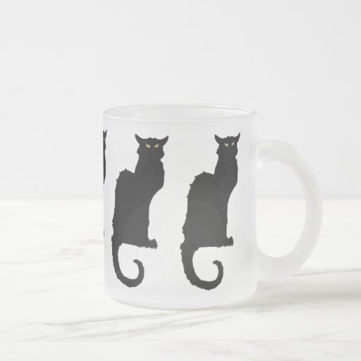 Vintage Art Nouveau, Spooky Halloween Black Cat Coffee Mugs