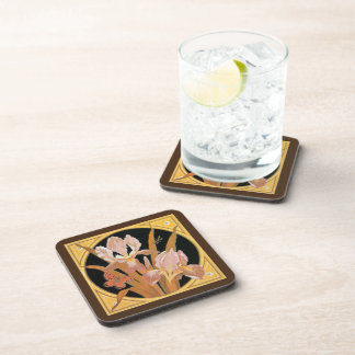 Vintage art nouveau spring leaves beverage coaster