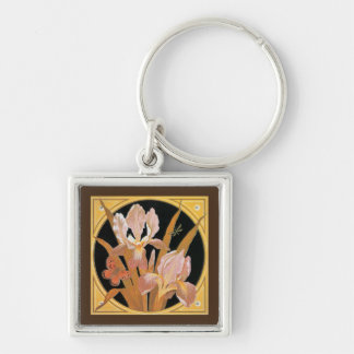 Vintage art nouveau spring leaves key chains