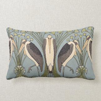 Vintage Art Nouveau Storks Lumbar Pillow