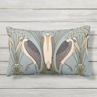 Vintage Art Nouveau Storks Outdoor Pillow