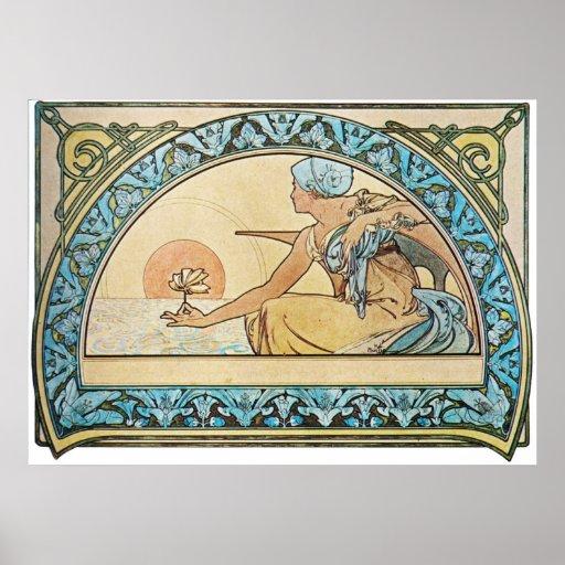 Vintage Art Nouveau sunset Poster | Zazzle