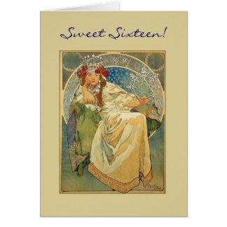Vintage Art Nouveau Sweet 16 Birthday Card