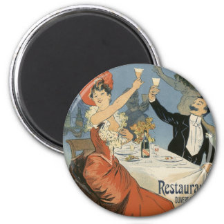 Vintage Art Nouveau, Taverne Olympia, Drinks Party 2 Inch Round Magnet