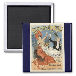 Vintage Art Nouveau, Taverne Olympia, Drinks Party 2 Inch Square Magnet