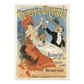 "Vintage Art Nouveau, Taverne Olympia, Drinks Party 5"" X 7"" Invitation Card"