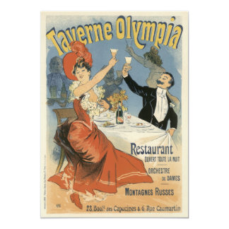 Vintage Art Nouveau, Taverne Olympia, Drinks Party 5x7 Paper Invitation Card