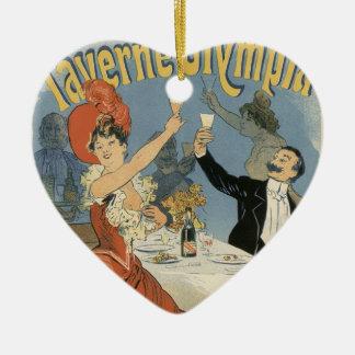 Vintage Art Nouveau; Taverne Olympia, Drinks Party Christmas Tree Ornament