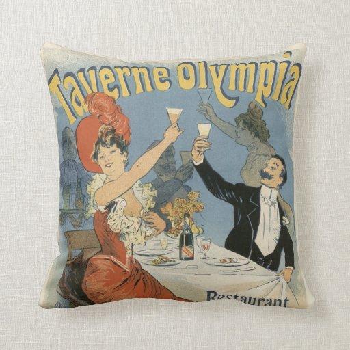 Vintage Art Nouveau, Taverne Olympia, Drinks Party Throw Pillows