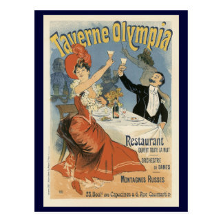 Vintage Art Nouveau, Taverne Olympia, Drinks Party Postcard