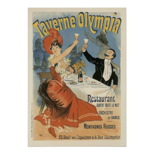 Vintage Art Nouveau, Taverne Olympia, Drinks Party Poster ...