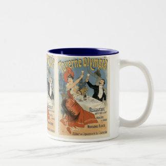 Vintage Art Nouveau, Taverne Olympia, Drinks Party Two-Tone Coffee Mug