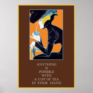 Vintage Art Nouveau Tea Quote Poster Print