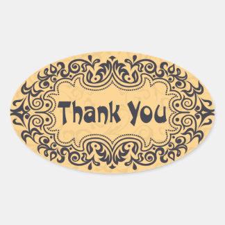 Vintage Art Nouveau Thank You Floral Tan Stickers