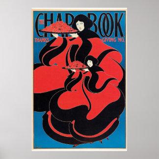 Vintage art Nouveau Thanksgiving magazine Poster