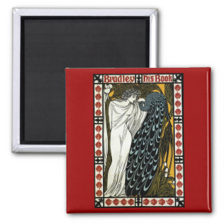 Vintage Art Nouveau, This Kiss, Woman with Peacock 2 Inch Square Magnet
