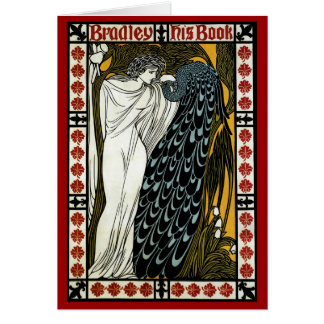 Vintage Art Nouveau; This Kiss, Woman with Peacock Greeting Cards