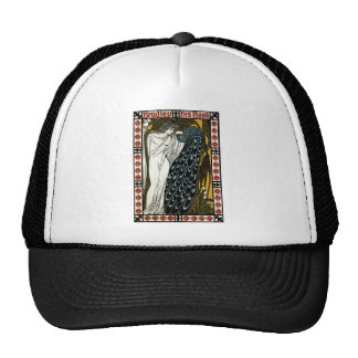 Vintage Art Nouveau, This Kiss, Woman with Peacock Trucker Hat