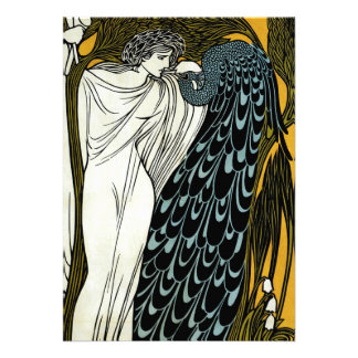 Vintage Art Nouveau; This Kiss, Woman with Peacock Custom Invite