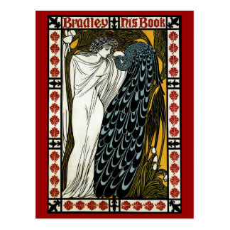 Vintage Art Nouveau; This Kiss, Woman with Peacock Post Card
