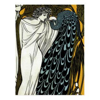 Vintage Art Nouveau; This Kiss, Woman with Peacock Postcard