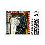 Vintage Art Nouveau, This Kiss, Woman with Peacock Stamp