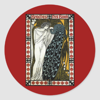 Vintage Art Nouveau, This Kiss, Woman with Peacock Classic Round Sticker