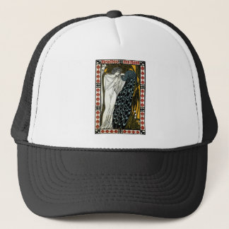 Vintage Art Nouveau This Kiss, Woman with Peacock Trucker Hat