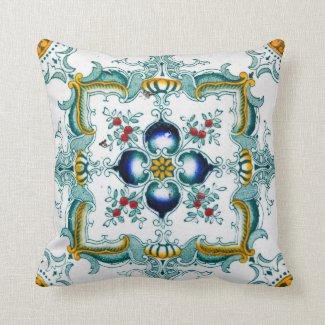Vintage Art Nouveau Tile Throw Pillow