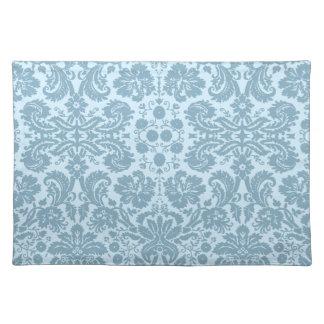 Vintage art nouveau turquoise floral cloth placemat