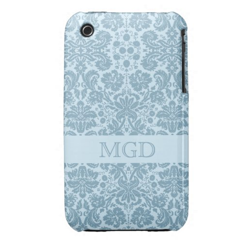 Vintage art nouveau turquoise floral monogram iPhone 3 cover