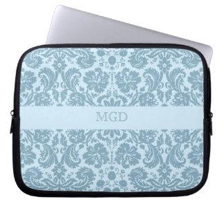 Vintage art nouveau turquoise floral monogram computer sleeve case