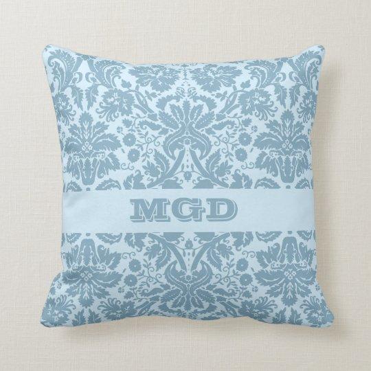 Vintage art nouveau turquoise floral monogram throw pillow