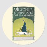 Vintage Art Nouveau, Victorian Lady Riding Bicycle Classic Round Sticker
