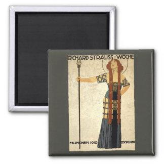 Vintage Art Nouveau, Victorian Woman 2 Inch Square Magnet