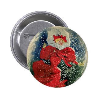 Vintage Art Nouveau, Victorian Woman in Snow Pinback Button