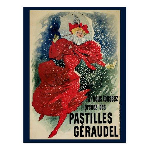 Vintage Art Nouveau, Victorian Woman in Snow Postcard