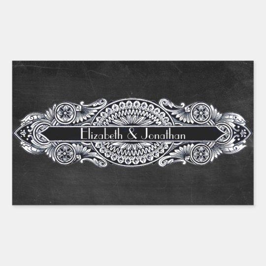 Vintage Art Nouveau Wedding Rectangular Sticker