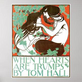 Vintage Art Nouveau, when hearts are trumps Poster