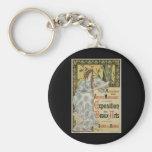 Vintage Art Nouveau; Woman Artist and Palette Key Chains