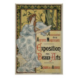 Vintage Art Nouveau; Woman Artist and Palette Print